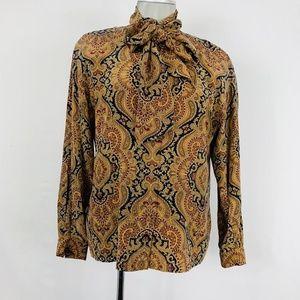 Dana Buchman 100% silk necktie paisley blouse